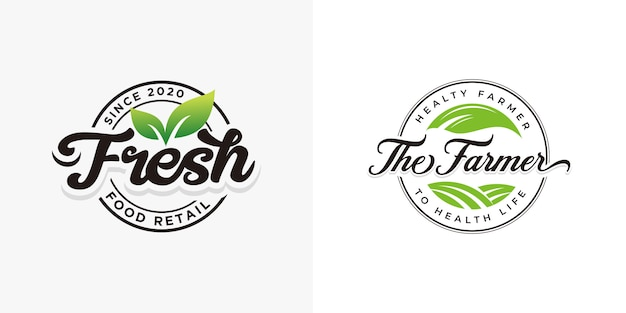 Fresh natural food logo collections template Premium Vector