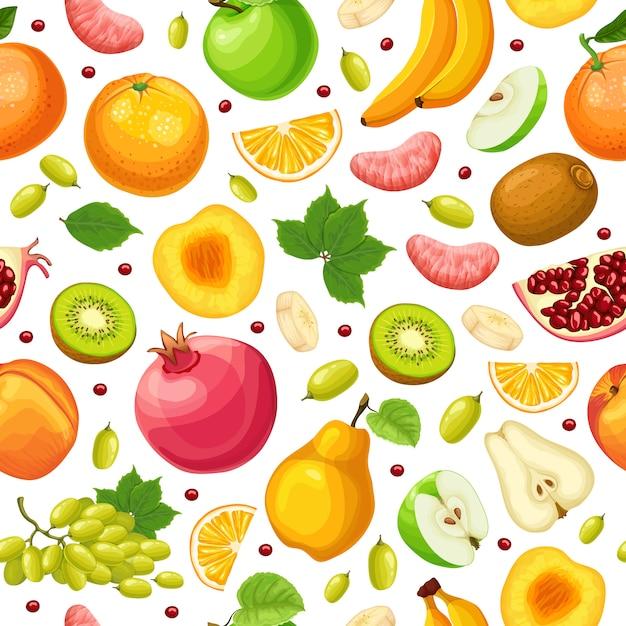 新鮮な自然食品のシームレスパターン 無料ベクター