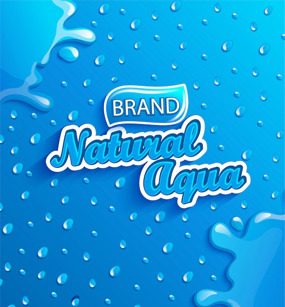 Fresh natural water banner with drops and splash. Premium Vector