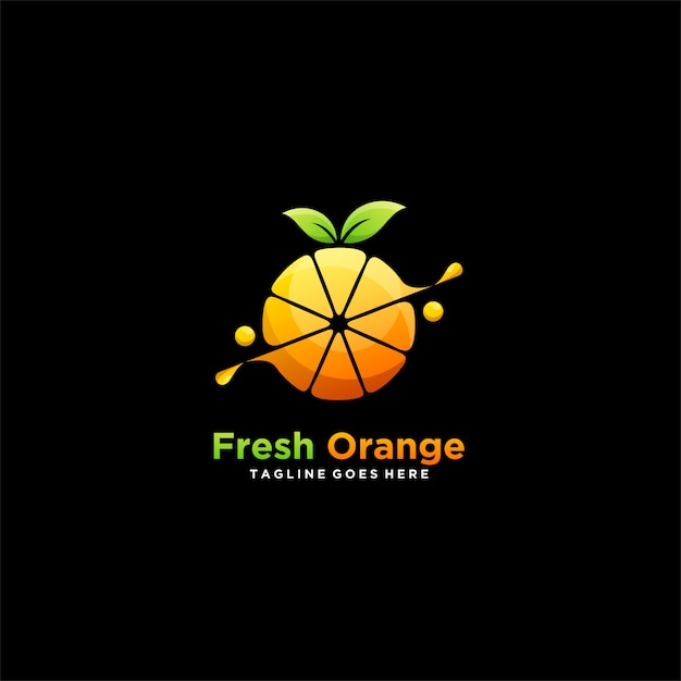 Fresh orange icon illustration  logo Premium Vector