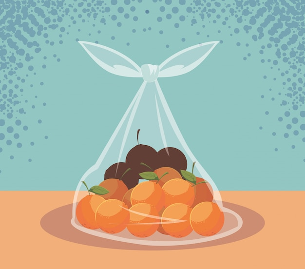 Fresh oranges fruits in bag plastic Premium Vector