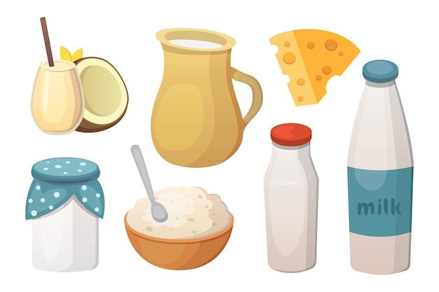 チーズ入りの新鮮なオーガニックミルク製品。 Premiumベクター