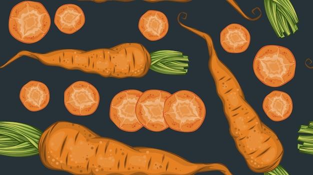 天然にんじんと暗闇でスライスした新鮮な有機野菜のパターン 無料ベクター
