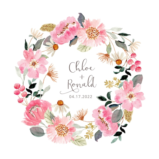 Fresh pink floral garden watercolor wreath Premium Vector