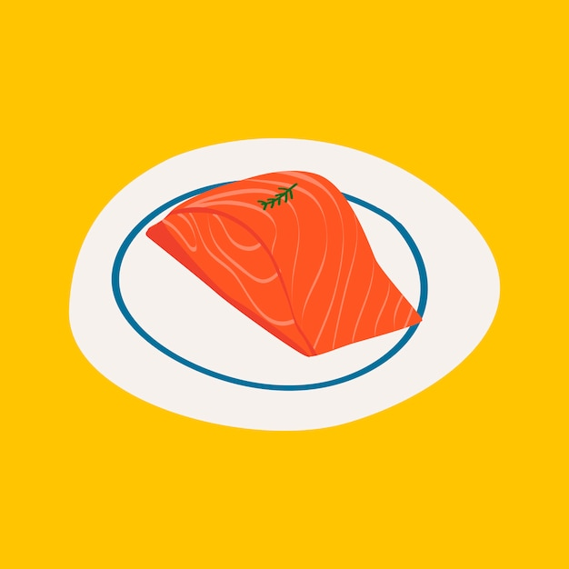 Fresh raw salmon healthy ingredient vector Free Vector