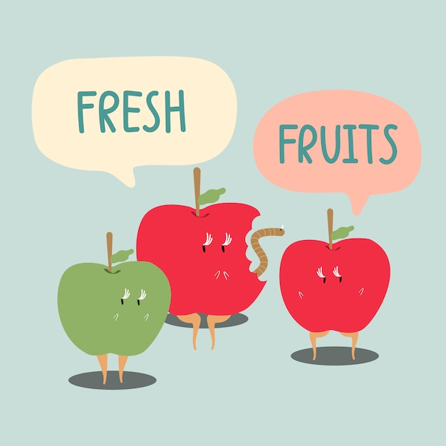 Fresh red and green apples cartoon character vector Free Vector