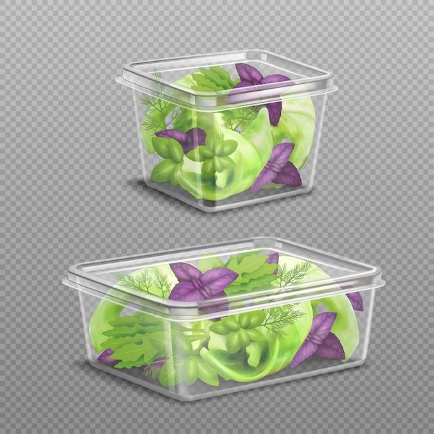 Fresh salad plastic storage transparent Free Vector