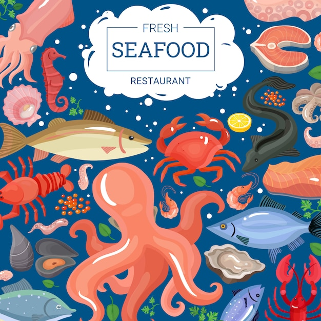 Fresh seafood restaurant background Free Vector