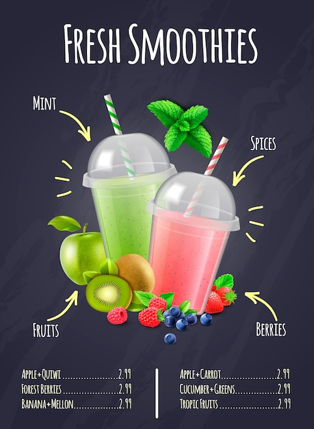 Fresh smoothies realistic composition Free Vector