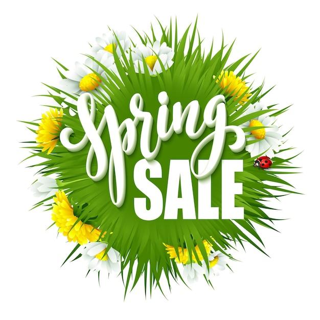Свежий весенний фон с травой, одуванчиками и маргаритками. иллюстрация Premium векторы