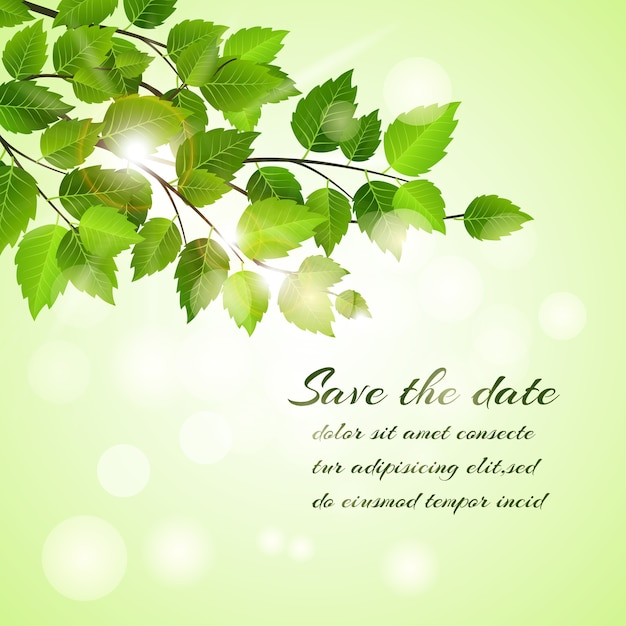 Fresh spring save the date vector card design with a branch of young green leaves with a bokeh of sparkling sunlight  text and copyspace Free Vector