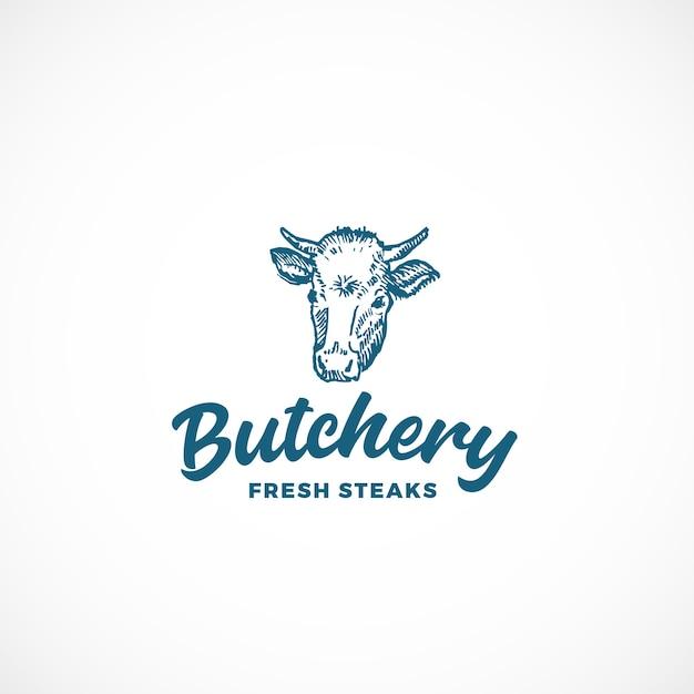 新鮮なステーキ肉屋の抽象的な記号、記号またはロゴのテンプレート。 Premiumベクター