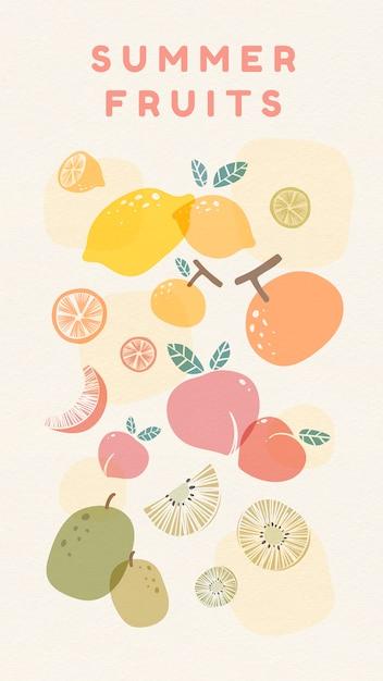 Fresh summer fruits Free Vector