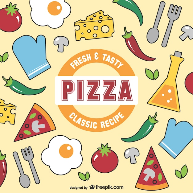 Fresh and tasty pizza vector Free Vector