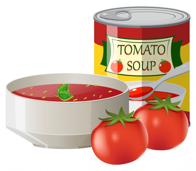 Fresh tomatoes and tomato soup in can Free Vector