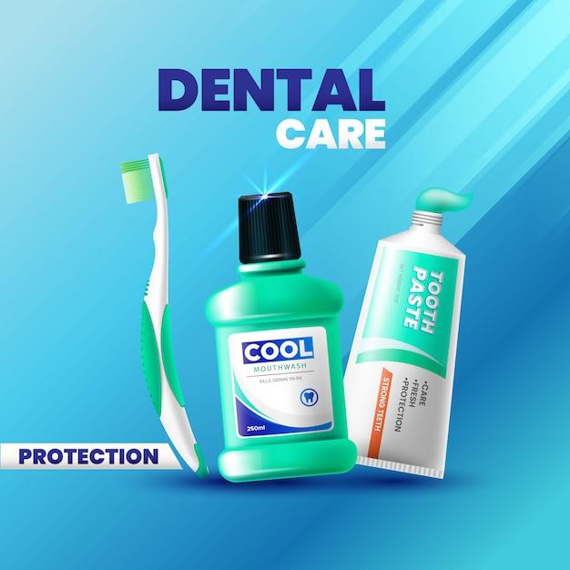 新鮮な歯磨き粉、マウスウォッシュ、歯ブラシの広告の現実的なスタイル Premiumベクター