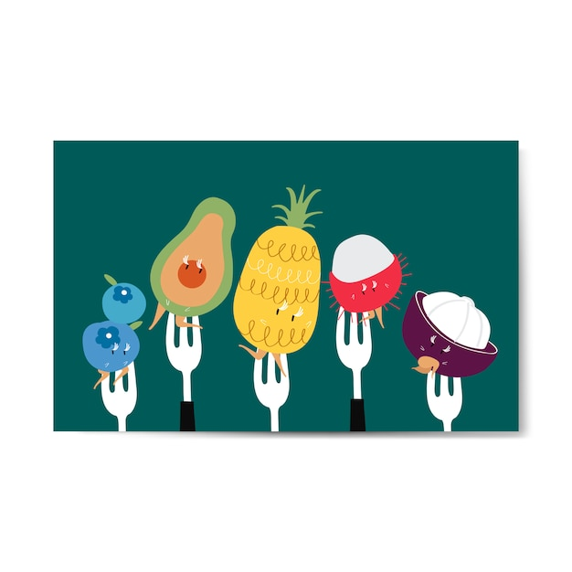 Fresh tropical fruit cartoons on forks vector Free Vector