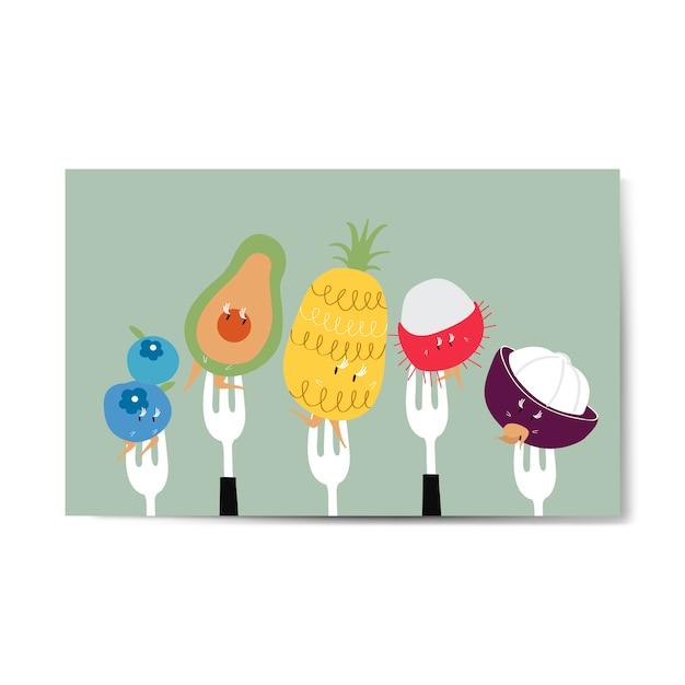 Fresh tropical fruit cartoons on forks vector Free Vector