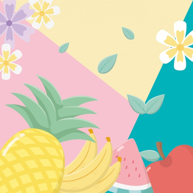Fresh and tropical fruits background Premium Vector