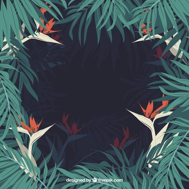 Fresh tropical jungle frame Free Vector
