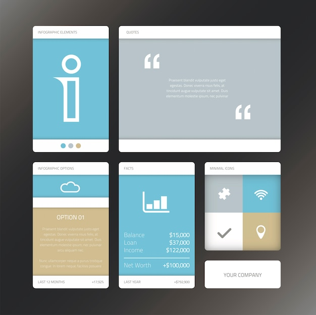 Fresh vector illustration minimal infographic flat ui design elements Premium Vector
