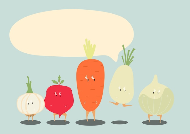 Fresh vegetable cartoon characters set vector Free Vector