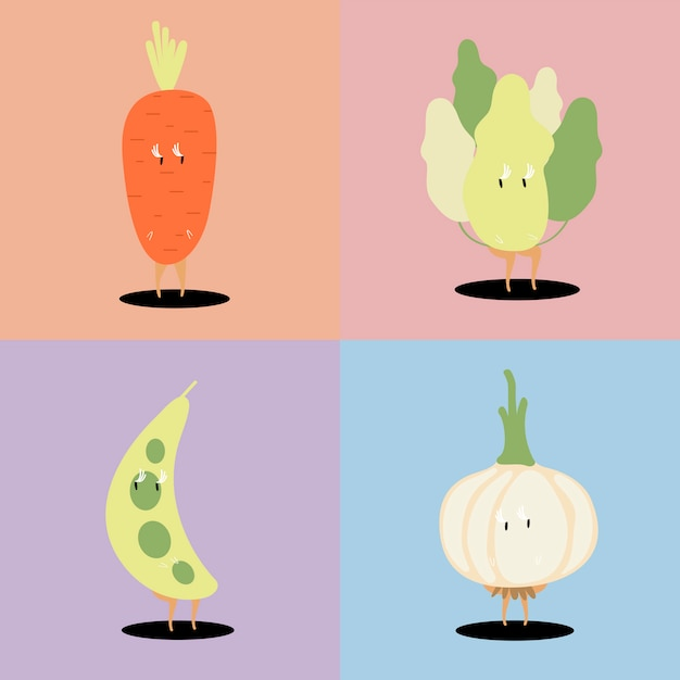 Fresh vegetable cartoon characters vector set Free Vector