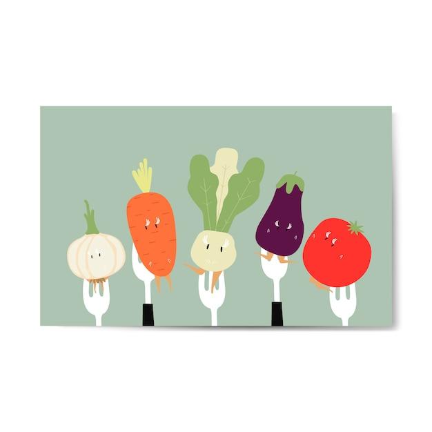 Fresh vegetable cartoons on forks vector Free Vector