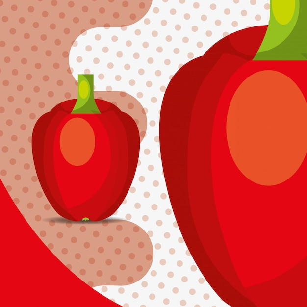 Fresh vegetable red pepper bell on dots background Premium Vector