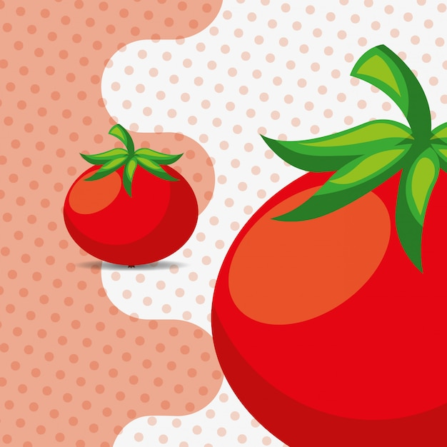 Fresh vegetable tomatoes on dots background Premium Vector