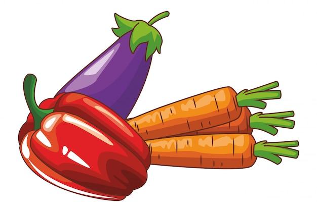 Fresh vegetables cartoon Premium Vector