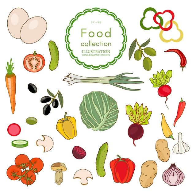 Fresh vegetables collection Premium Vector