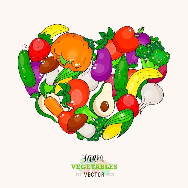 Fresh vegetables fruits heart isolated on white background. healthy vegetable illustration. Premium Vector
