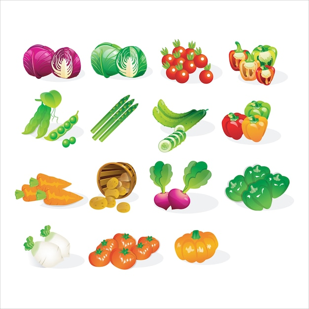 Fresh vegetables icon set cartoon Premium Vector