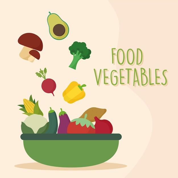 Свежие овощи в зеленом подносе Premium векторы