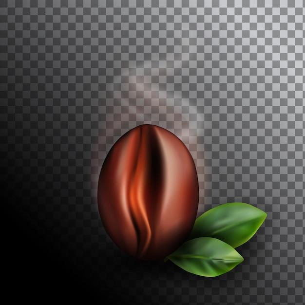 Свежеобжаренные кофейные зерна с восходящим дымом. реалистичные 3d иллюстрации ароматного зерна кофе на темном фоне Premium векторы