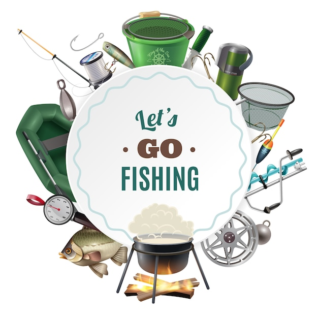 Freshwater fishing sport round frame composition Free Vector