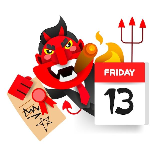 Friday 13 calendar with demon character Premium Vector