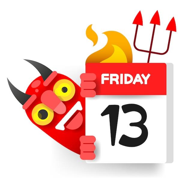 Friday 13 calendar with demon Premium Vector