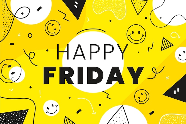 Friday background with emoticons and shapes Free Vector