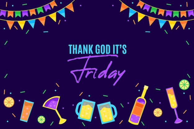 Friday background with garlands and drinks Free Vector
