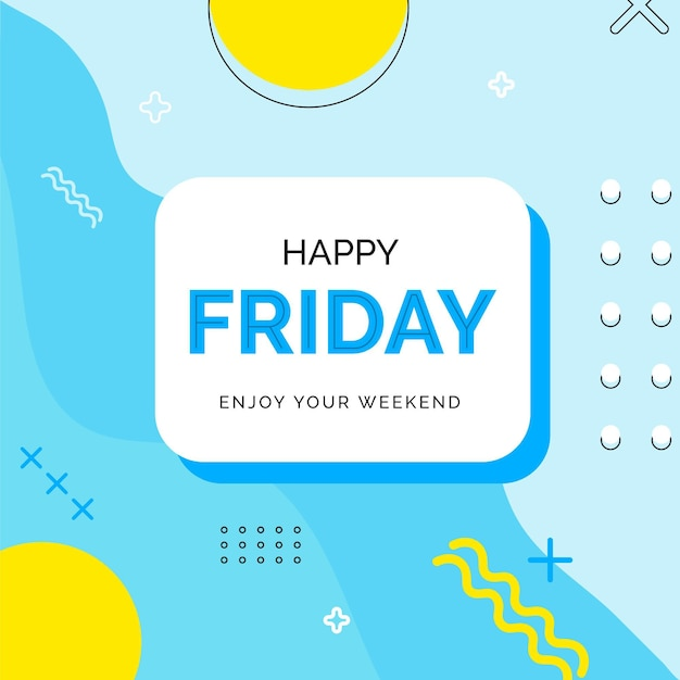 Friday enjoy your weekend blue background Free Vector