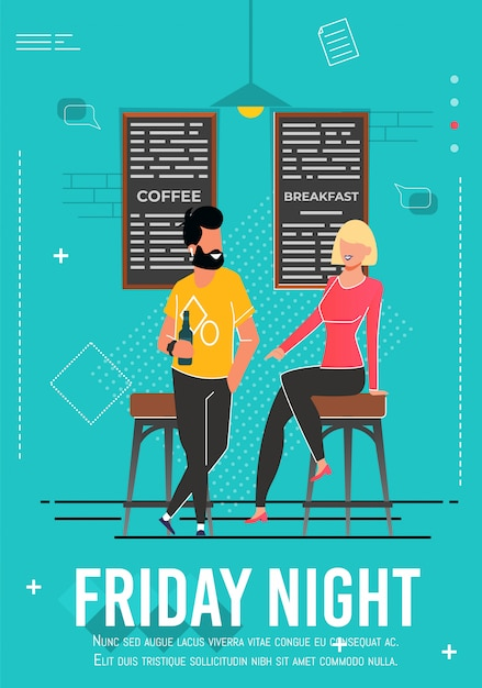 Friday night advert poster with relaxing people Premium Vector