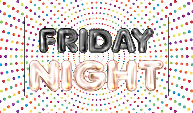 Friday night banner with colored dots Premium Vector