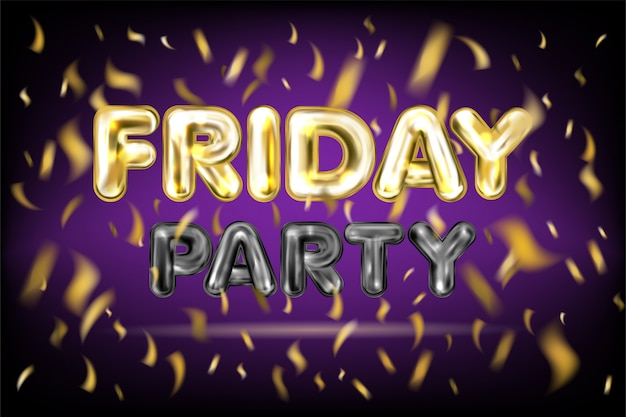 Friday party violet banner Premium Vector