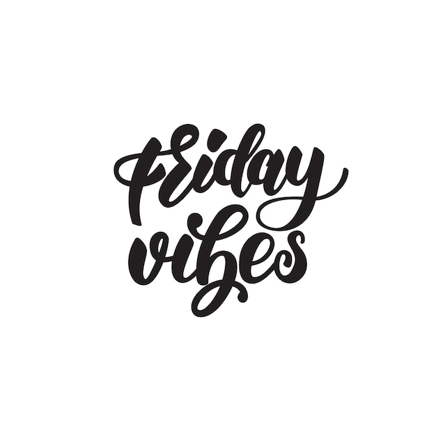Friday vibes lettering badge Premium Vector