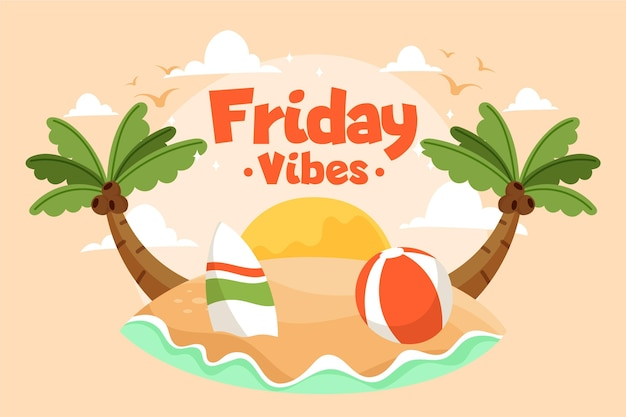 Friday vibes message on island Free Vector