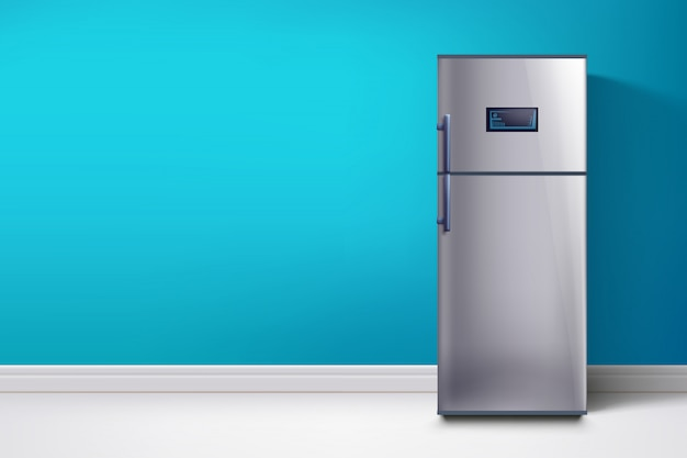 Fridge at blue wall Premium Vector