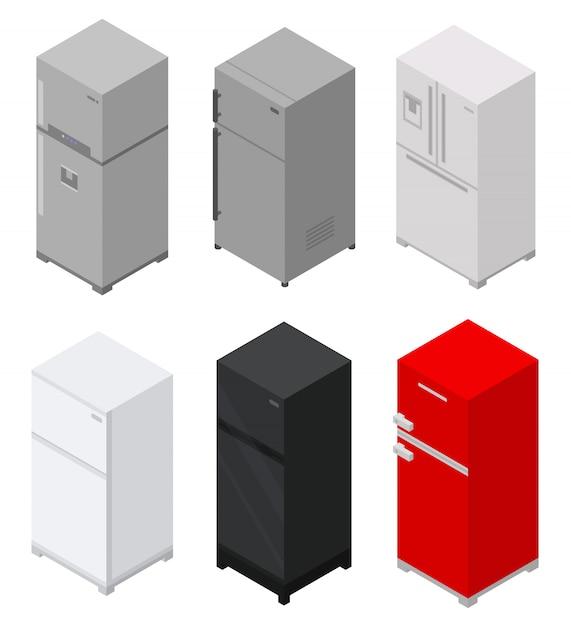 Fridge icons set, isometric style Premium Vector