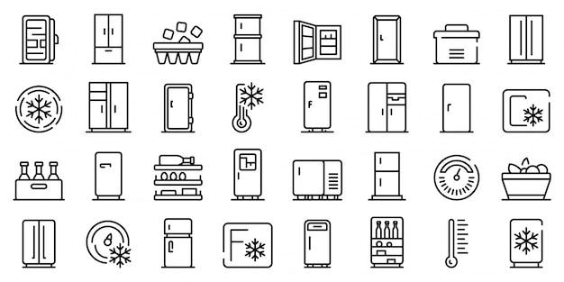 冷蔵庫のアイコンセット、アウトラインのスタイル Premiumベクター